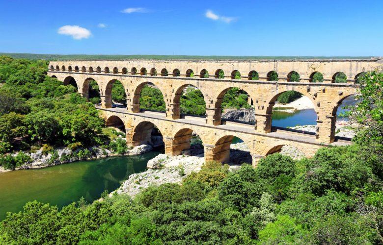 The Pont du Gard crossing the Gardon